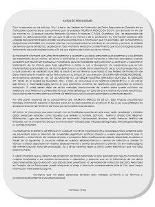 AVISO DE PUBLICIDAD